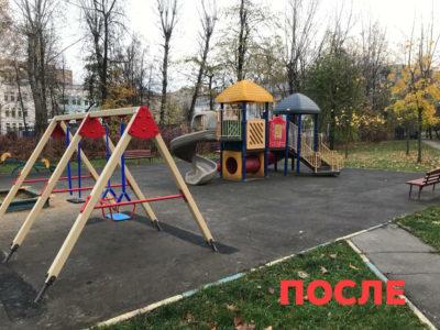 На игровой площадке в Перово отремонтировали качели